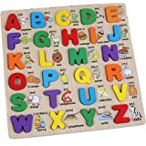 Childrens Kids Learning Classic Capital Alphabet Wooden Puzzles Toy