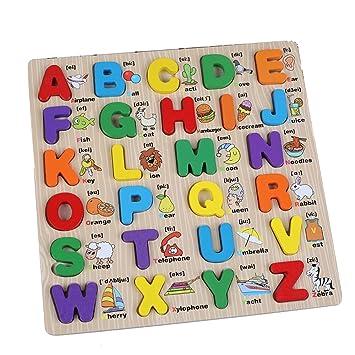 Newin Star 1pcs Preschool Wooden Alphabet Puzzle Board Letters