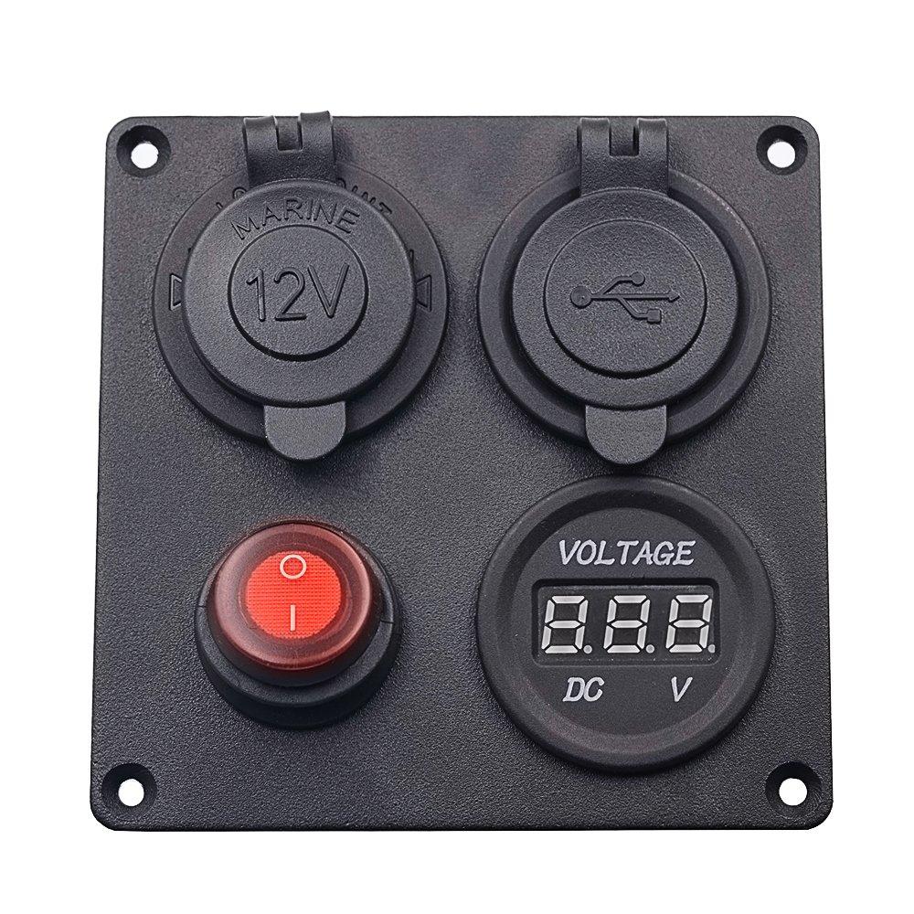 Panel Multifunci/ón 4 en 1 para Coche Bote Cami/ón Toma de corriente de 12V Interruptor de palanca de encendido//apagado YGL Cargador dual de usb Volt/ímetro LED