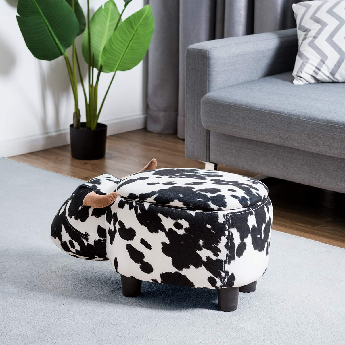 Giantex Ottoman Foot Rest Storage Stool, Foling Padded Seat Cute Animal Buffalo Cow Style Changing Shoes for Bedroom Living Room Entryway Accent Soft Upholstered Ride-on Ottomans White Black