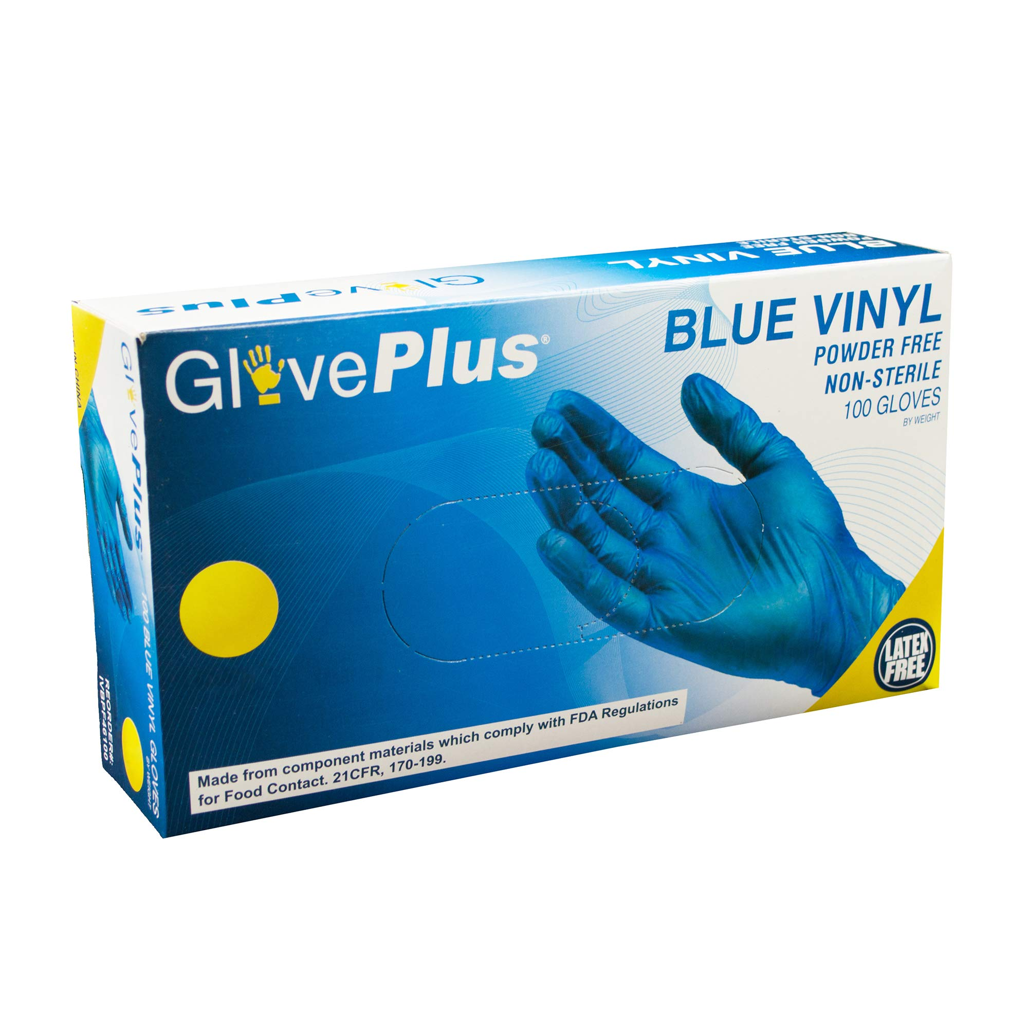 AMMEX Vinyl Disposable Gloves - Powder-Free, Food Safe, Non-Sterile, 4 mil Thick, Large, Blue (Case of 1000) by GLOVEPLUS (Image #6)