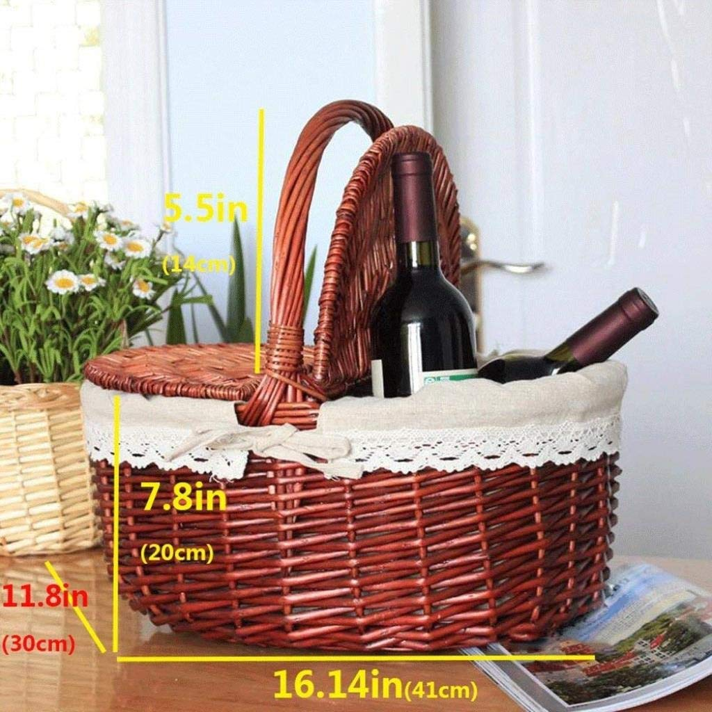 YJLGRYF Storage Shelf Fruit Basket Rattan Storage Basket Jinliu Home Gift Basket Bamboo Basket Portable Basket Garden Picnic Basket Basket Storage Rack