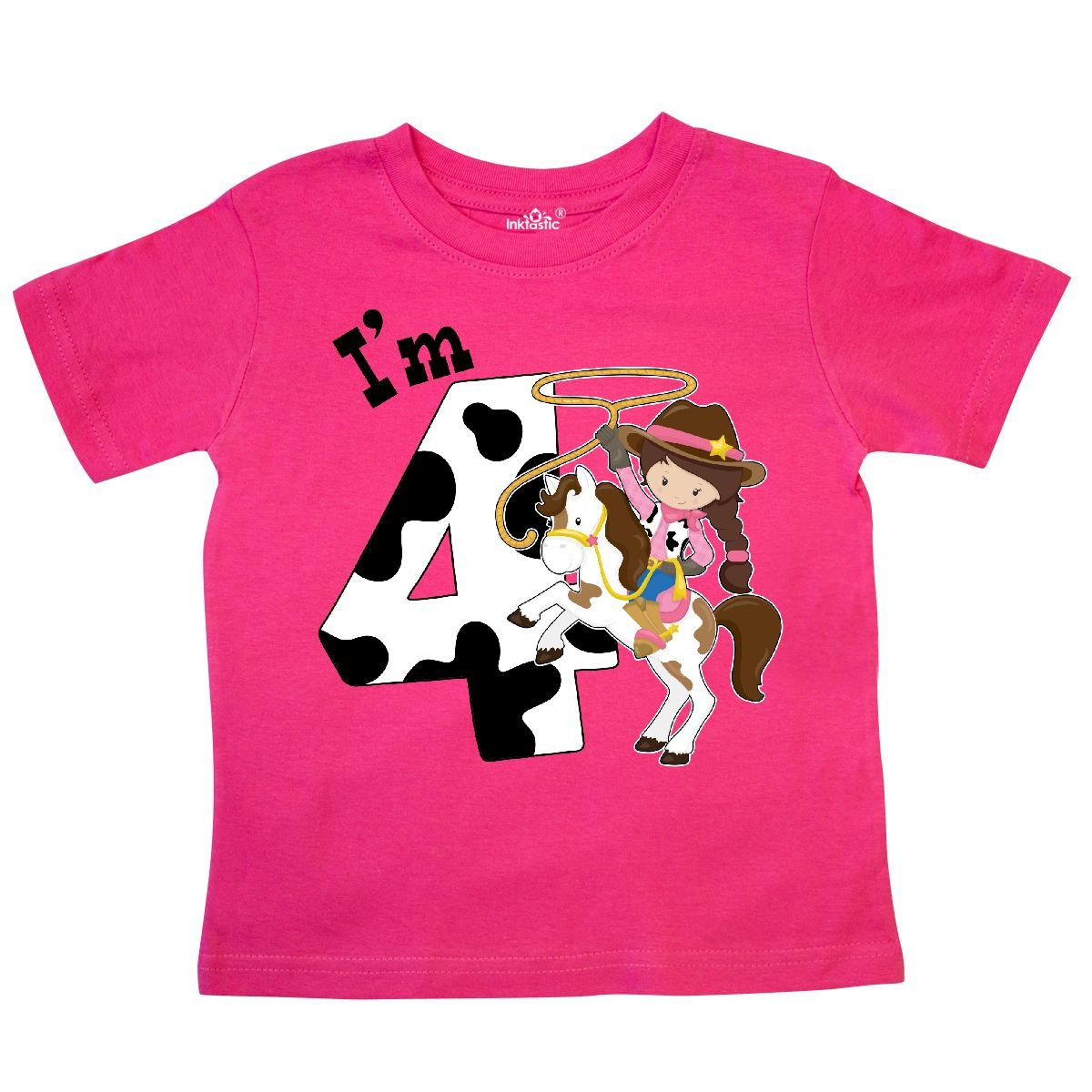 inktastic Im Four-Cowgirl Riding Horse Birthday Toddler T-Shirt