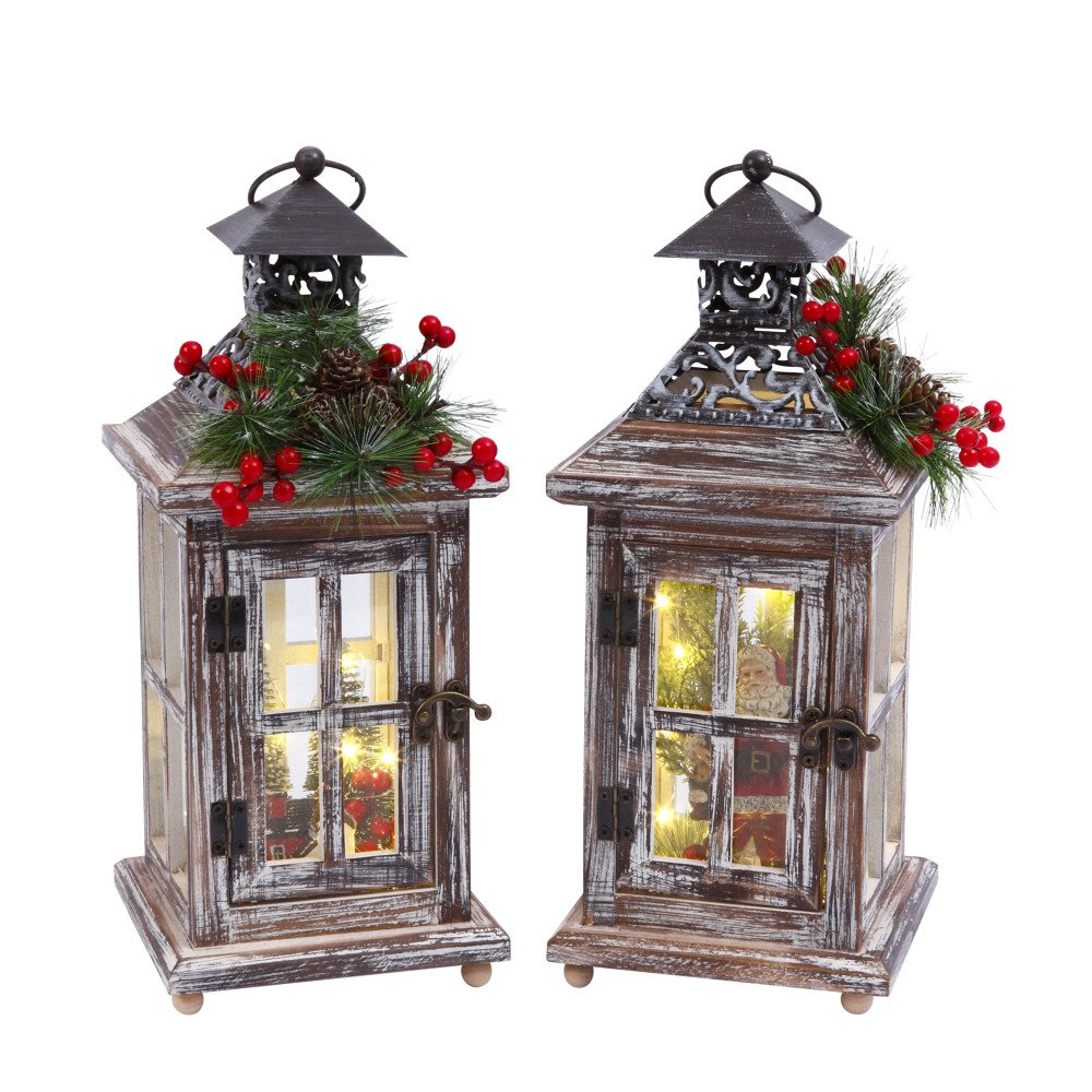 Gerson Set of 2 13.5InH B/O Wood Lanterns