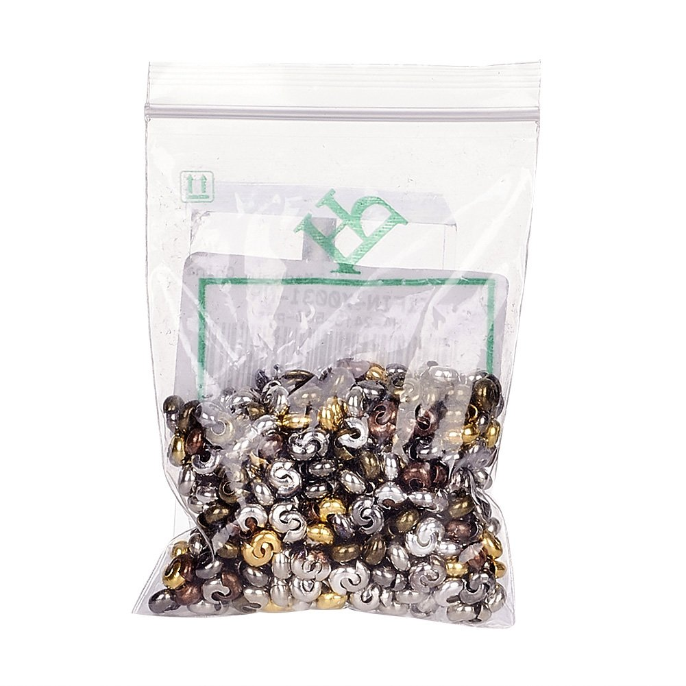 Pandahall 500pcs Mixed Style Iron Crimp Beads Covers Round Crimp Cover Clamp Tips Knot Cover Metal DIY Jewelry Findings 3mm