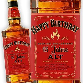 Jack Daniels Fire Etikett 18 Geburtstag Amazon De Kuche Haushalt