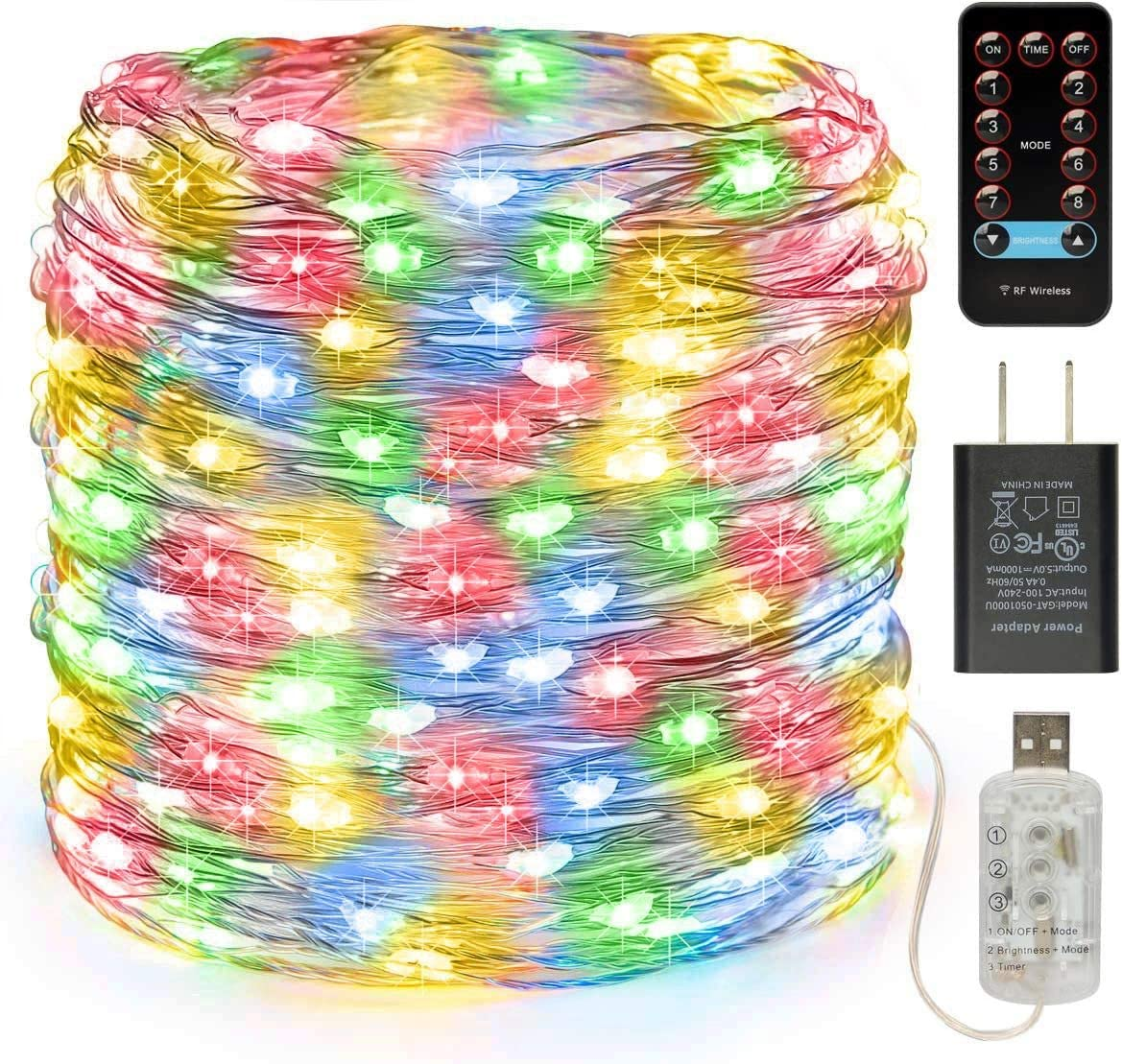 buways 66ft 200LEDs Fairy Lights-USB Plug-in Twinkle String Lights 8 Modes with RF Remote Control Christmas Party Garden Home Decoration(1,Silver Wire-Multicolor-66ft)