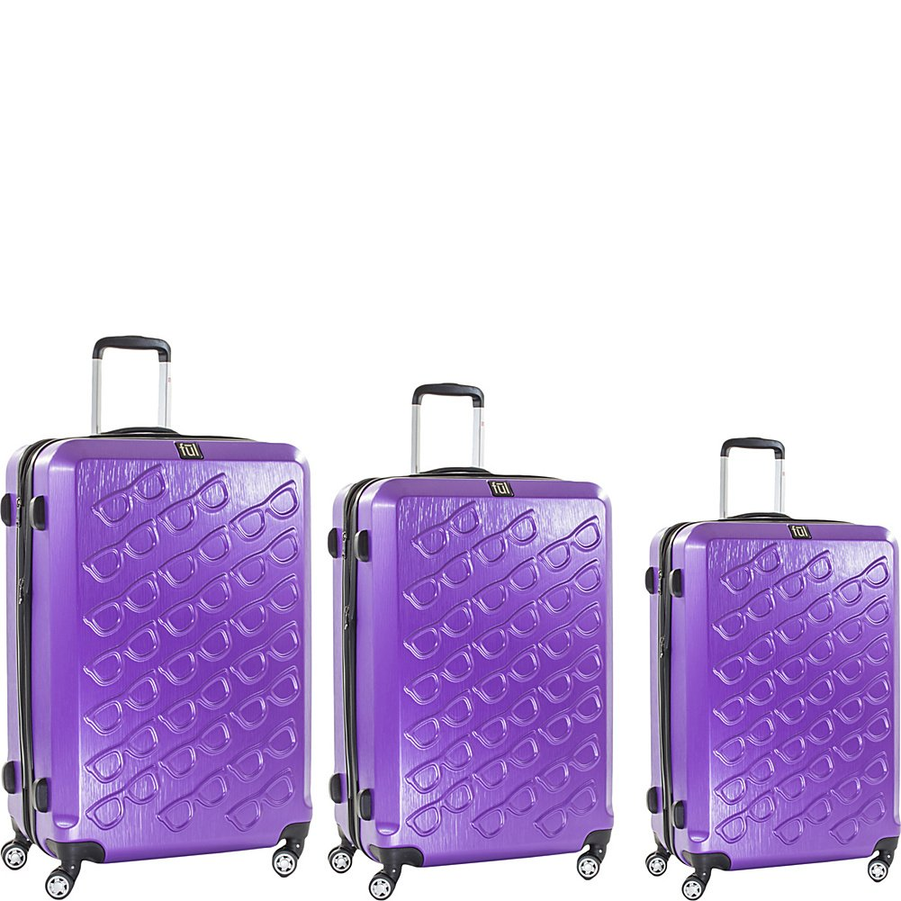 ful Sunglasses 3 Piece Spinner Luggage Set (Purple) by Ful