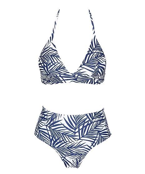 79331cdc23610 Amazon.com  SWIMANDTAN Tropical Palm Leaf Print Cheeky Bikini Set for  Women
