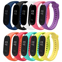 Vococal 10 Piezas Pulsera Xiaomi Mi Band 3 Correas Reloj Silicona Banda para XIAOMI Mi Band 3 Reemplazo - 10 Colores