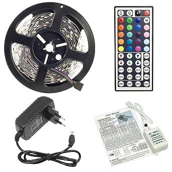 EVTECH - Tira de luz sin control remoto, 5 m, protección IP65, ledes SMD5050, carcasa para control remoto por infrarrojos, 12 V, fuente de alimentación de 2 A