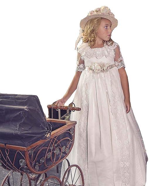 MerryGirl Abiti da Festa in Pizzo con Applicazioni Floreali per Bambina   Amazon.it  Abbigliamento 9d8035e2eee