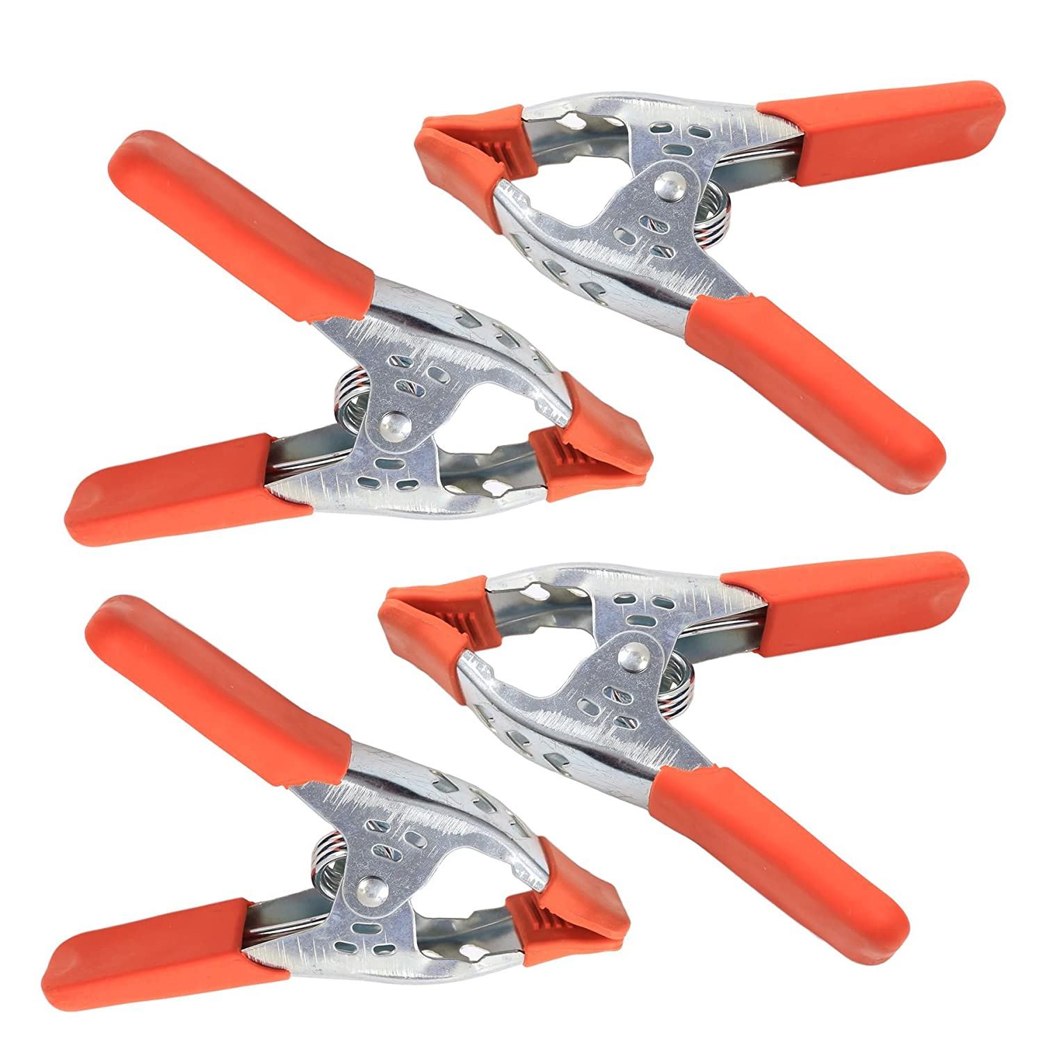 4x Large 6' Metal Spring Clamps - Heavy Duty Strong Clips With Rubber Grips White Hinge