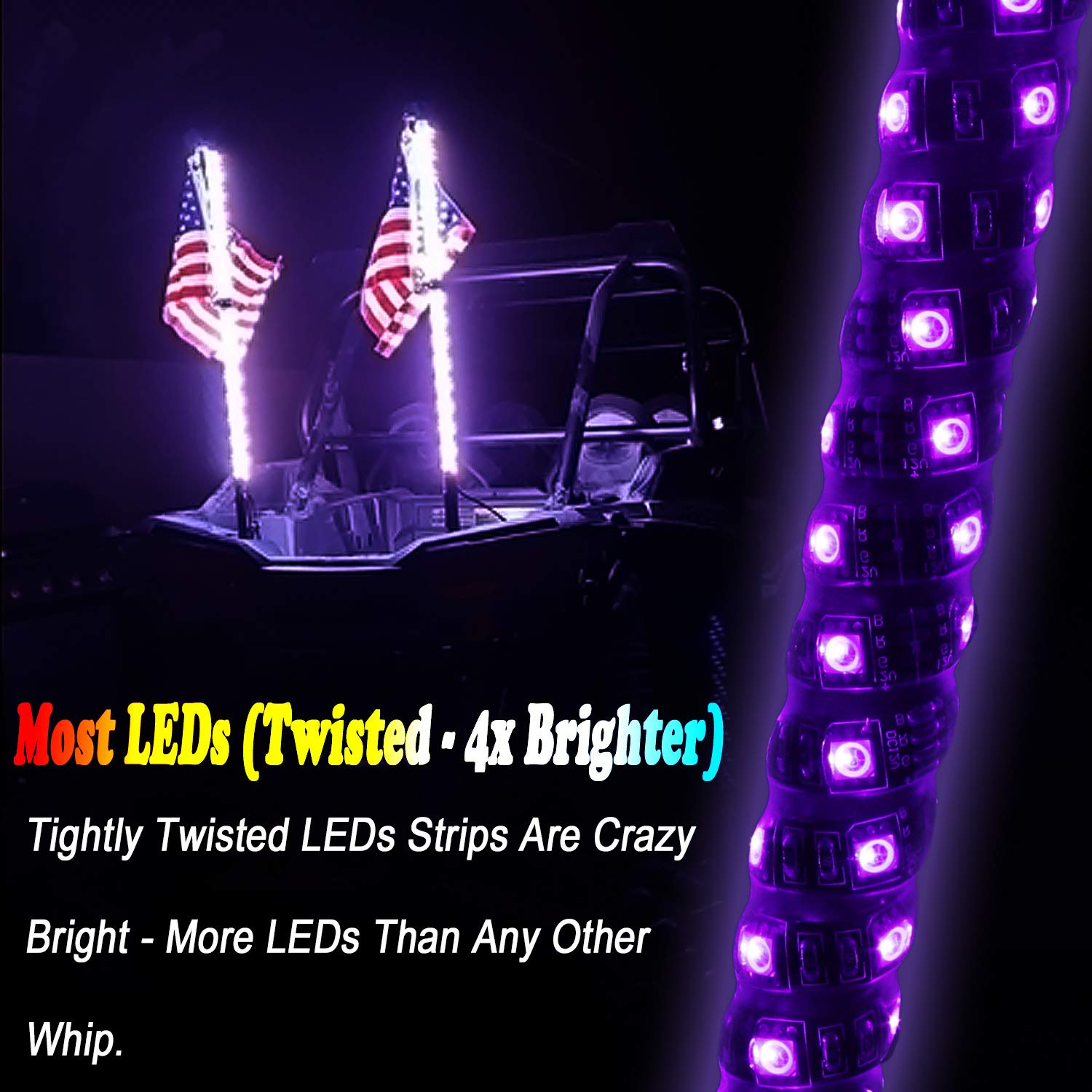 2pc 4ft Spiral LED Whip Lights w//Flag Lighted Antenna Whips Wireless Remote Accessories for ATV Polaris RZR 4 Wheeler 21 Modes 20 Colors Weatherproof