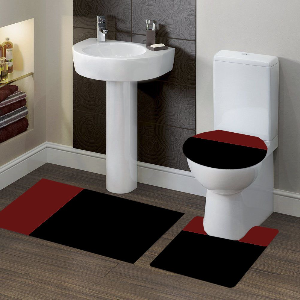GorgeousHomeLinen (#7) 2 Tone BLACK/BURGUNDY 3pc Bathroom Set Bath Mat Contour and Toilet Lid Cover with Rubber Backing Rugs