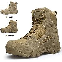ENLEN&BENNA Men's Combat Boots Military Coyote Desert Boots Tactical Boots Side Zipper Tan Lightweight Leather Brown