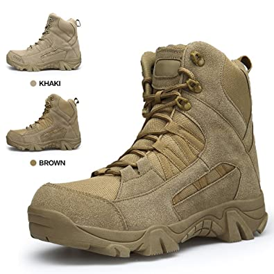 ENLEN and BENNA Mens Combat Boots Military Coyote Desert Boots Tactical  Boots Side Zipper Tan Lightweight 9ce82ac9a1b