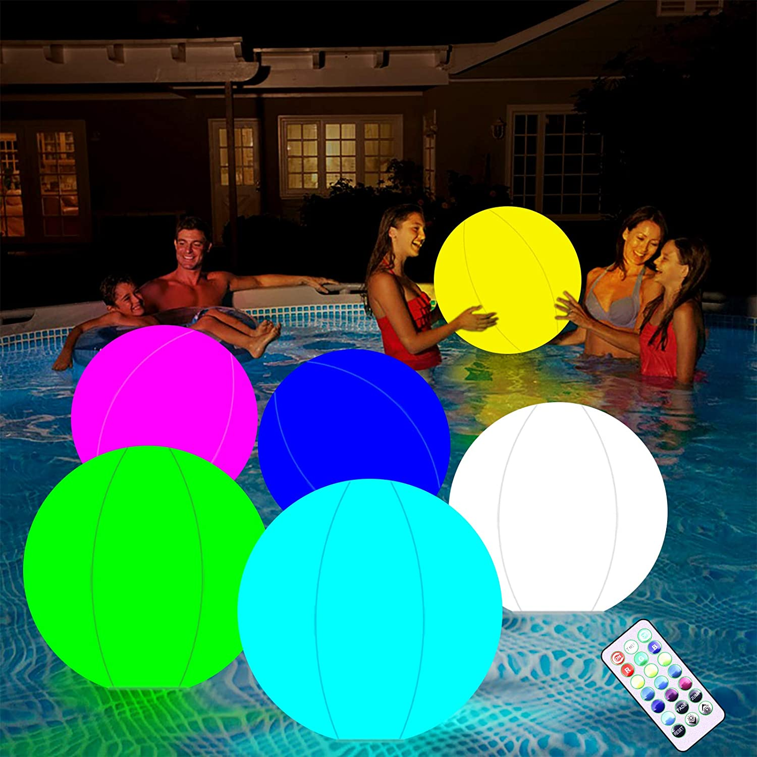 Glow Ball LED Ball Great for Beach Pool Party Outdoor Games and Decorations Generic/Brands Inflatable Glowing Ball Pool Toy 13 Colors Beach Ball 16 Inflatable LED Light Up Party Ball with Remote