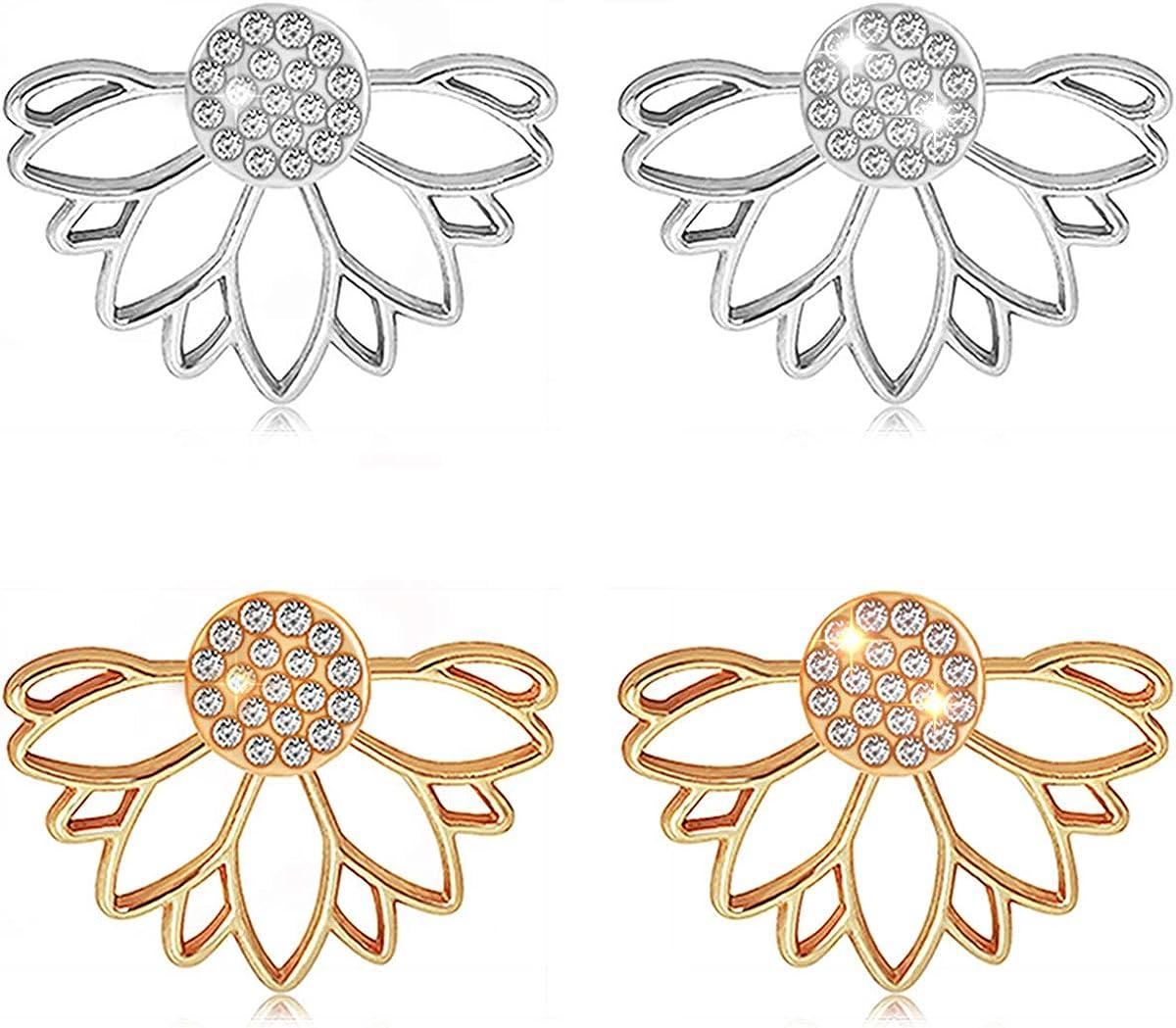 Suyi Mode Boucles doreilles de Fleur de Lotus Creuses Crystal Simple /Él/égant Boucles doreilles Set