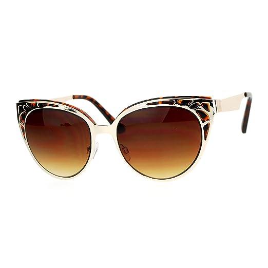 927e429843 Womens Cateye Sunglasses Stylish Double Frame Top Fashion UV400 Gold