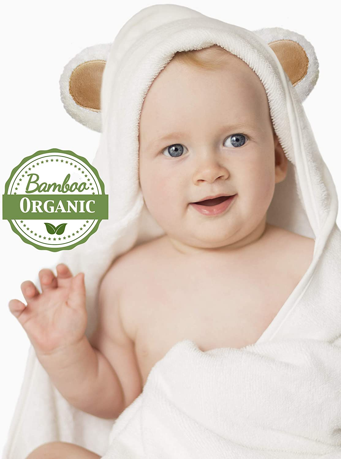 Premium Ultra Soft Organic Bamboo Baby Hooded Towels and Washcloth Set - Cute Bear Ears - Large Baby Bath Towels for Newborns Infants and Toddlers - Kids Towel with Hood for Boys or Girls Bahama Mama Silky Grey Ears