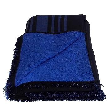 Grande 100% algodón doble cara toalla de playa pareo toalla de baño, color negro con patrón de rayas, color azul: Amazon.es: Hogar