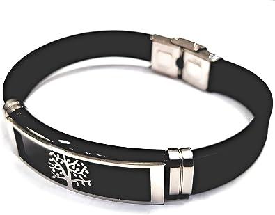 Nuevo 20cm acero inoxidable pulsera plata//negro acortable acero inoxidable caucho pulsera