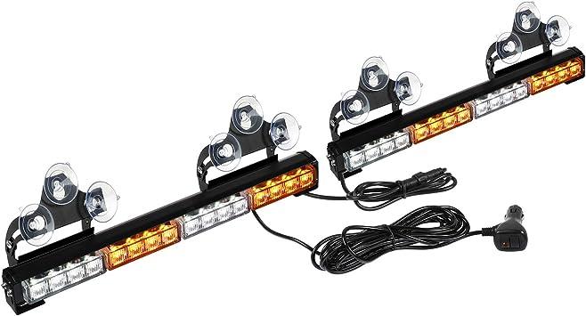Amber//White ASPL 2x16.8 inch Emergency Flashing LED Traffic Advisor Strobe Light Bar 32LED 26 Flash Patterns Interior Safety Warning Lights