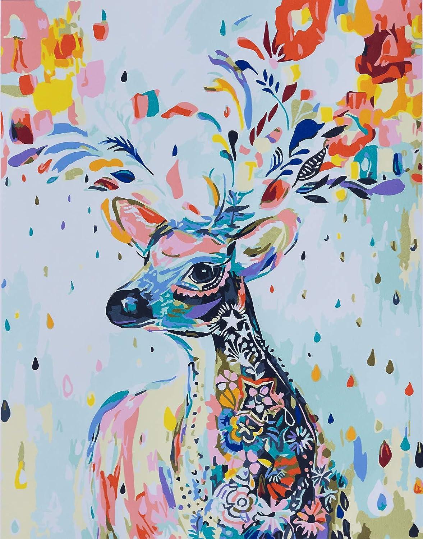 YXQSED Pintura por números para Adultos DIY Pintura al óleo Kit con Pinceles y Pinturas para Niños Seniors Junior -Sin Marco -Cervatillo de Color 16x20 Inch