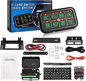 Partol 8 Gang Switch Panel LED On-Off Control Panel Switch Universal Slim Touch Panel Switch Box Waterproof Fuse Relay Box Automatic Dimmable Universal for Car Truck Marine Boat ATV UTV