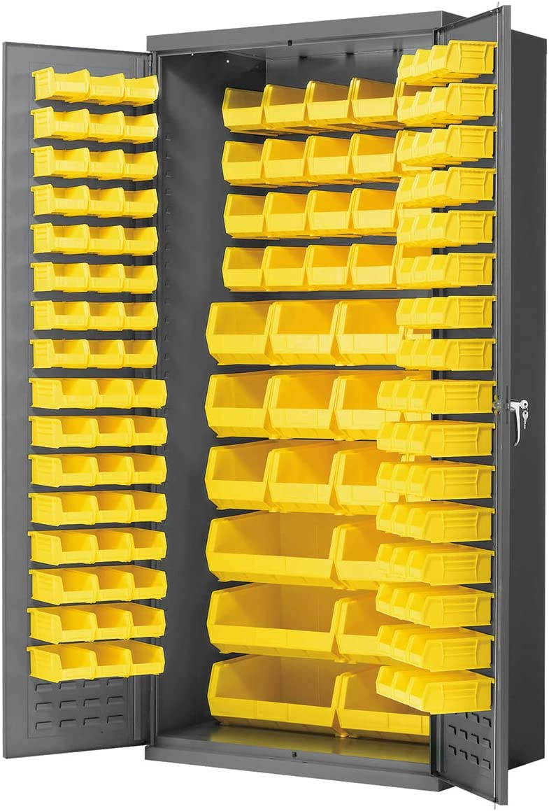 Akro-Mils AC3624 Y Steel Storage Cabinet with Louvered Panels on Back Wall and Doors, includes 138 Yellow AkroBins, 36 W x 24 D x 78 H