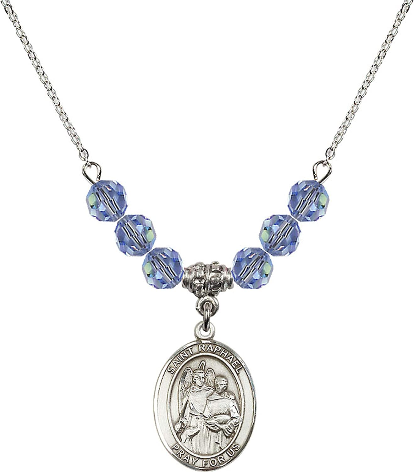 Bonyak Jewelry 18 Inch Rhodium Plated Necklace w// 6mm Light Blue September Birth Month Stone Beads and Saint Raphael The Archangel Charm