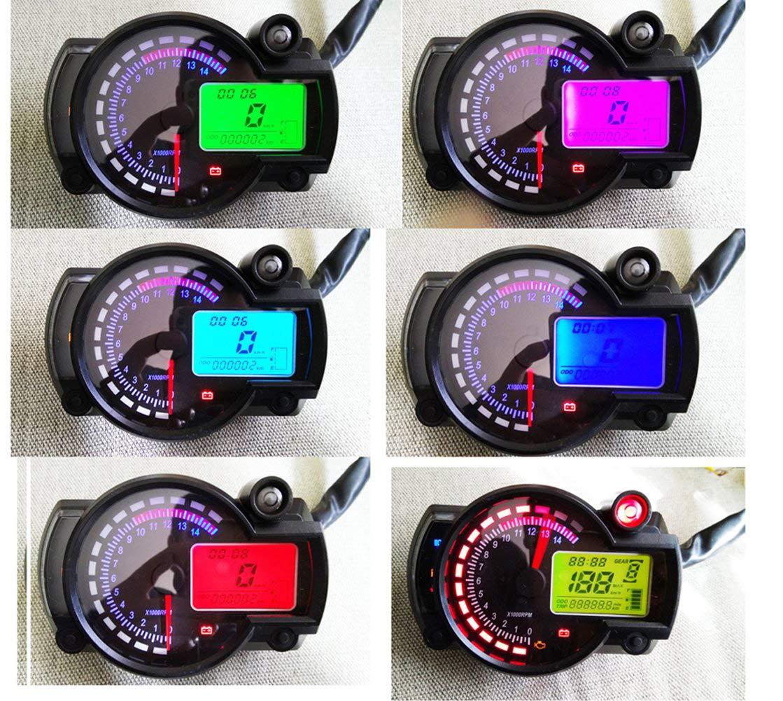 Samdo Motorcycle Speedometer 299 Kmh Mph 7 Color 14000RPM Tachometer ATV Quad Frenzy Universal Digital Speedometer by Samdo