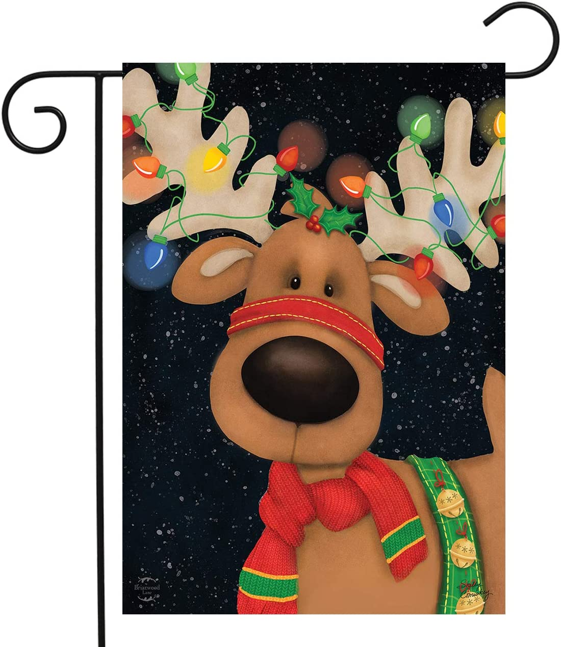 "Briarwood Lane Reindeer in Lights Christmas Garden Flag Holiday 12.5"" x 18"""