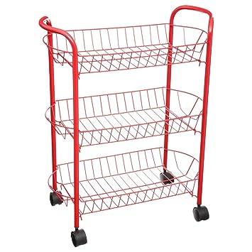 Secret de gourmet - Carro para verduras, 3 cestas rectangulares, color rojo: Amazon.es: Hogar