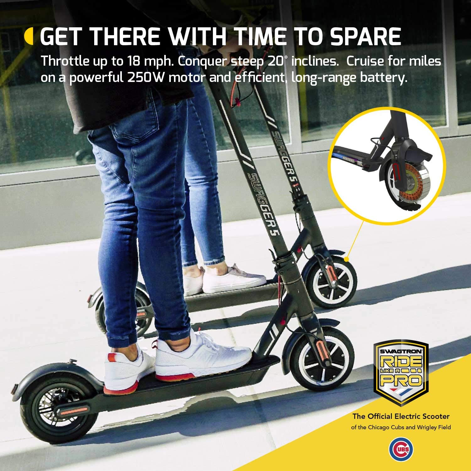 Swagtron High Speed Electric Scooter with 8.5'' Cushioned Tires, Cruise Control and 1-Step Portable Folding - Swagger 5 by Swagtron (Image #4)