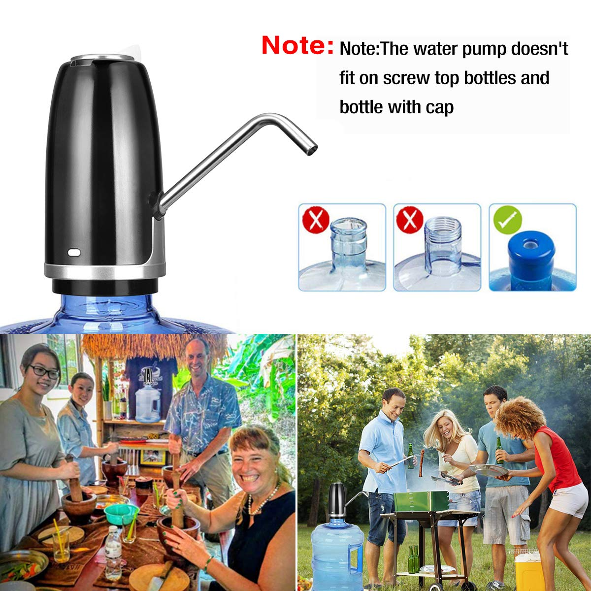Mini USB Charged Water Dispenser Portable Water Jug Pump Of 1200Mah Battery JUSONEY 5 Gallon Water Pump Upgraded Plus 2 Silicone Replacement Hoses