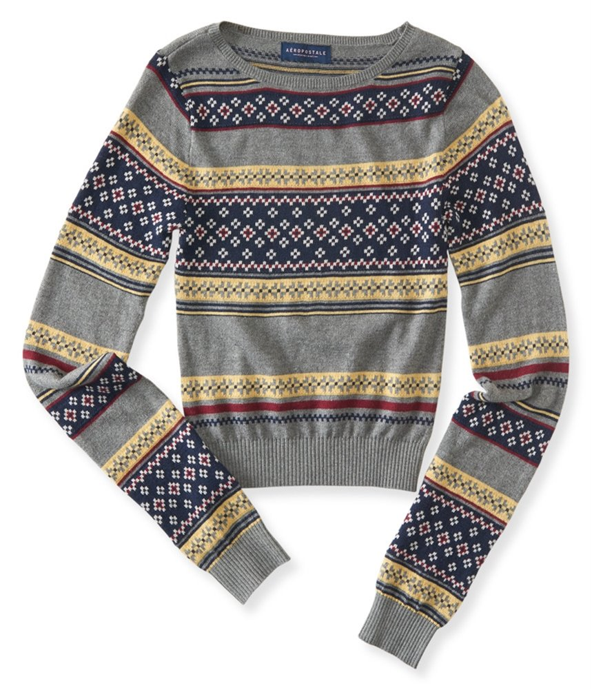 Aeropostale Womens Knit Patterned Pullover Sweater 053 S