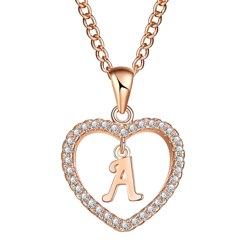 fc25511fc1e5 FineMe Initial Heart Necklace Letter A-Z Necklace Heart Love Necklace CZ  Cubic Zirconia Pendant for Women Girls