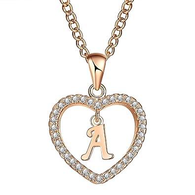 7528f9a21e6 FineMe Initial Heart Necklace Letter A-Z Necklace Heart Love Necklace CZ  Cubic Zirconia Pendant for Women