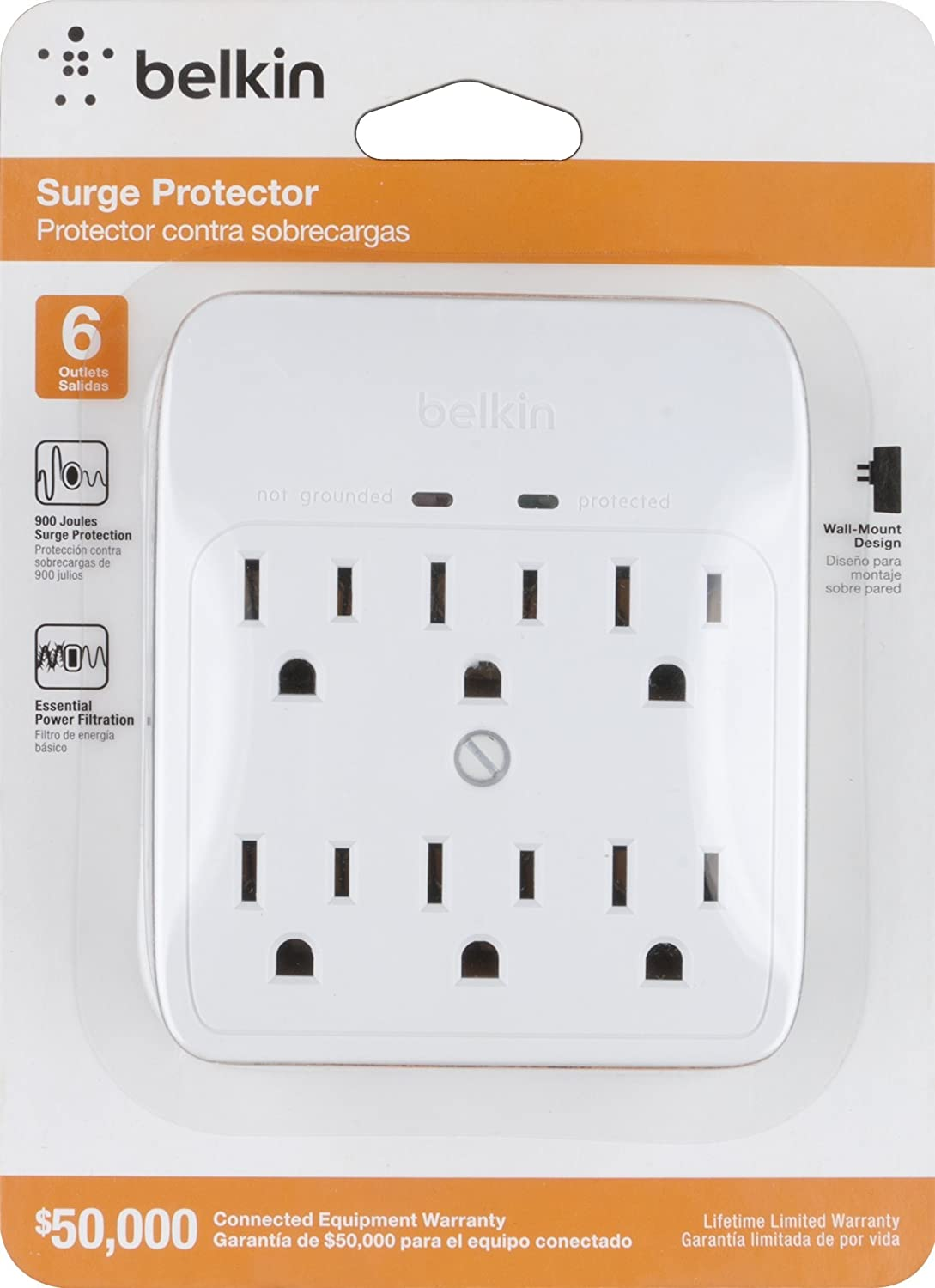 Amazon.com: Belkin BSQ600bgW 6-Outlet Wall-Mount Surge Protector, 900 Joules (Renewed): Home Audio & Theater