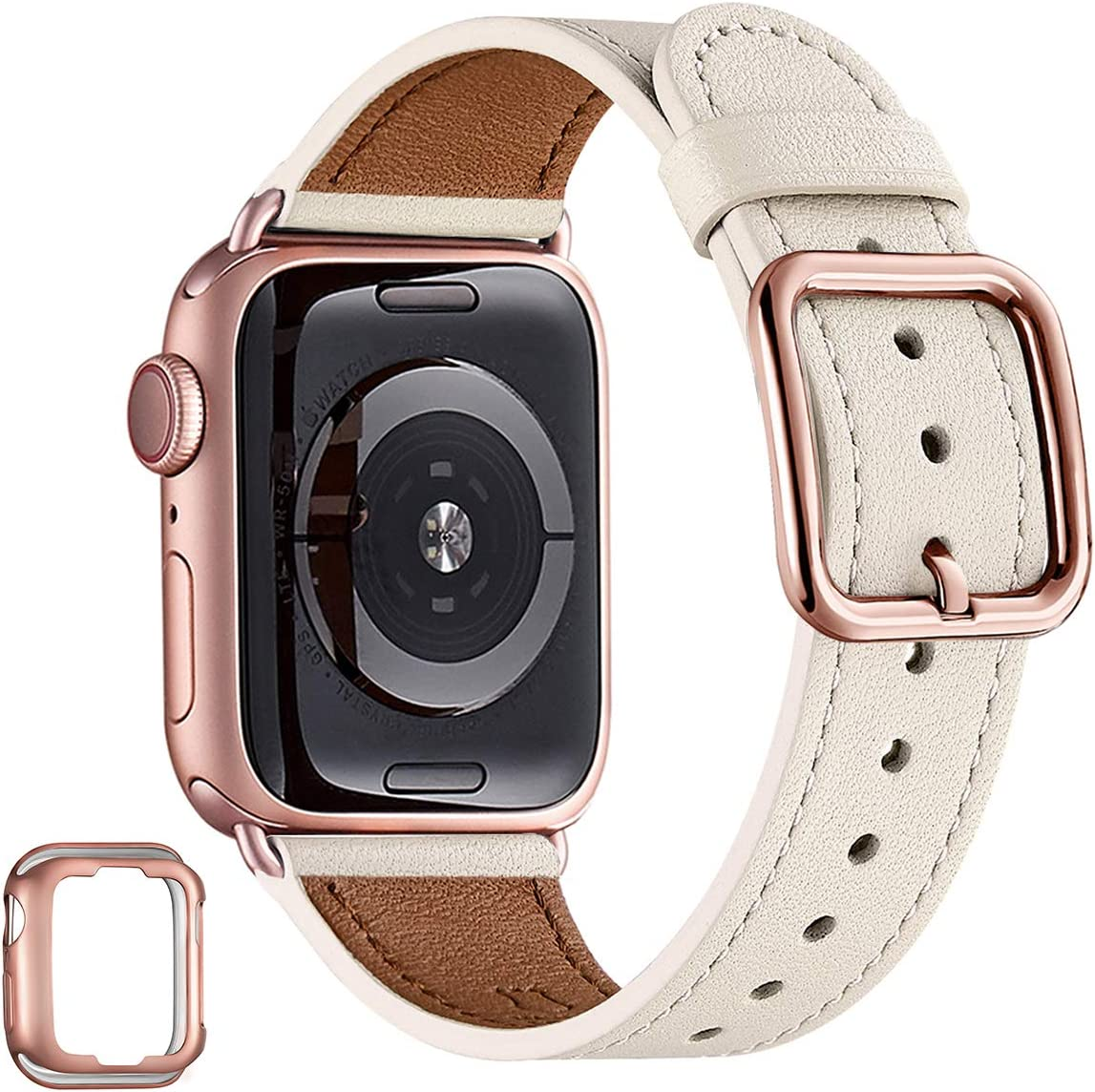 MNBVCXZ Compatible with Apple Watch Band 38mm 40mm 42mm 44mm Women Men Girls Boys Genuine Leather Replacement Strap for iWatch Series 6 5 4 3 2 1 iWatch SE (Ivory white/Rose gold, 38mm 40mm)