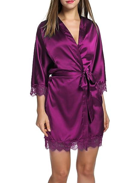 HOTOUCH Mujer Satén Kimono de noche Camisa Ropa Pijama Set Bata – Albornoz con pijamas inferior