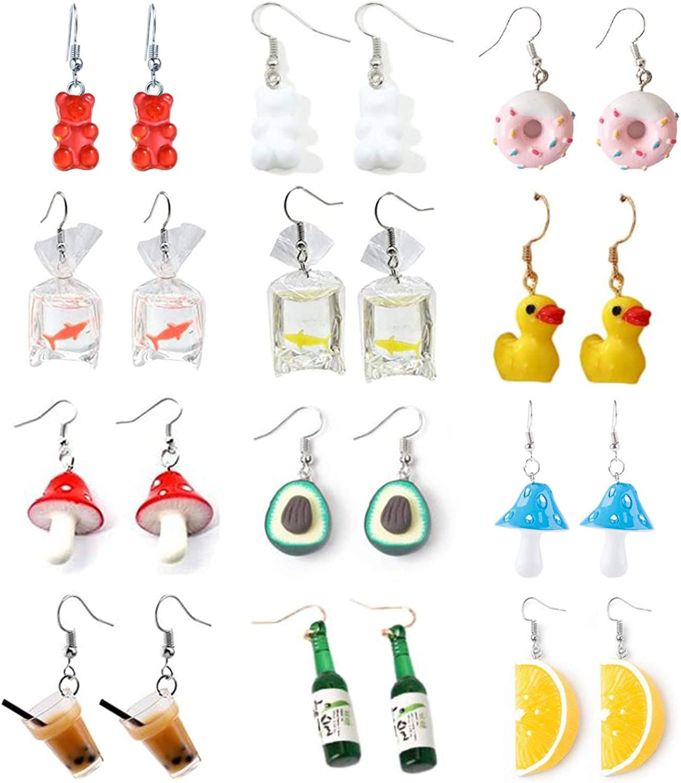 12 Pairs Funny Goldfish Bag Mushroom Earrings Cute Resin Milk Tea Gummy Bear Drop Earrings Handmade Bottle Donut Avocado Simulation Food Dangle Earrings for Girls Women Jewelry