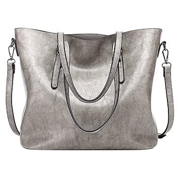 8fce3b93c082 Ocamo Women Casual Handbag High-Capacity Oil Wax PU Leather Shoulder ...