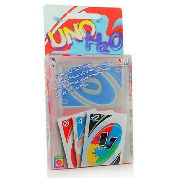 New UNO H2O Waterproof PVC Transparent Cystal Clear Family Playing Card