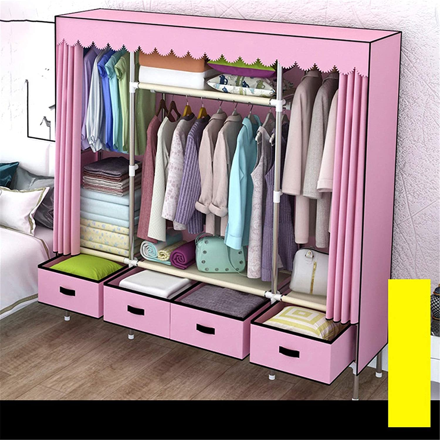 N/Z Home Equipment Canvas Wardrobe Portable Clothes Closet Wardrobe with Hanging Rack Non-Woven Fabric Storage Organizer with 5 Drawers (Color : Blue Size : 170x168x45cm)