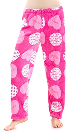 a90bb3f842 Ladies Heart U Printed Ultra Plush Pajamas Pants, Multiple Colors Available