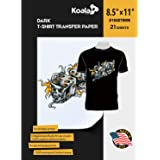 Koala Paper 21 Sheets Iron-On Dark T Shirt Transfer Paper 8.5x11 inch Letter Size Compatible with All Inkjet Printer