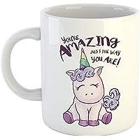iKraft You're Amazing Just I The Way You are Printed Unicorn Coffee Mug White-11Oz Mug Gift for Sister